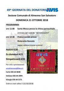 Giornata del donatore con l'Avis di Almenno San Salvatore